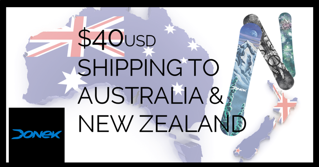 $40 shipping to australia and new zealand on donek snowboards