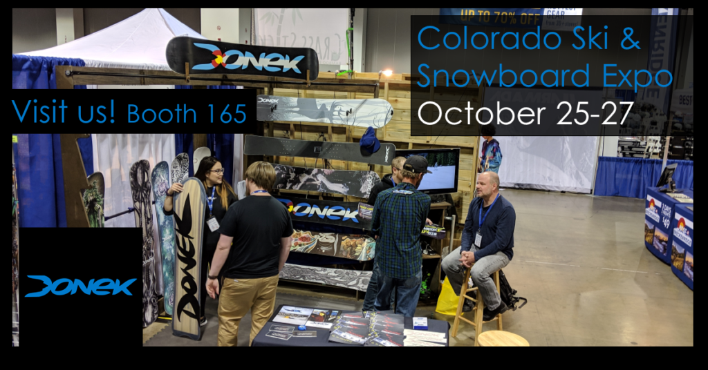 Donek snowboards booth with owner Sean Martin at the 2018 Ski and snowboard show in Denver Colorado