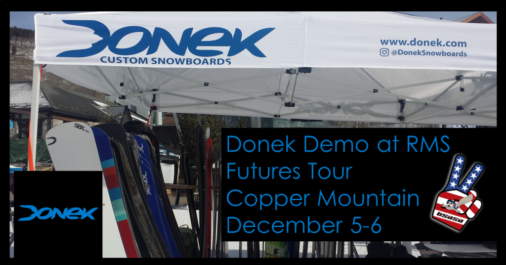 donek snowboards with the Rocky Mountain Series for the Futures Tour and Donek Demo Day